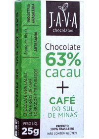Chocolate 63% Cacau + Café do Sul de Minas Java Chocolates 25g