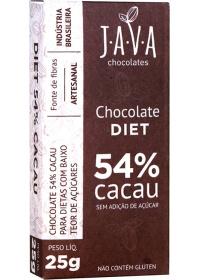 Chocolate Diet 54% Cacau Sem Adição de Açúcar Java Chocolates 25g