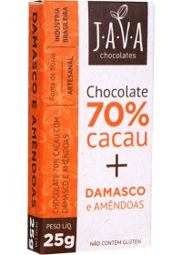 Chocolate 70% Cacau + Damasco e Amêndoas Java Chocolates 25g