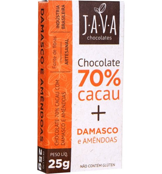 Chocolate 70% Cacau + Damasco e Amêndoas Java Chocolates 25g